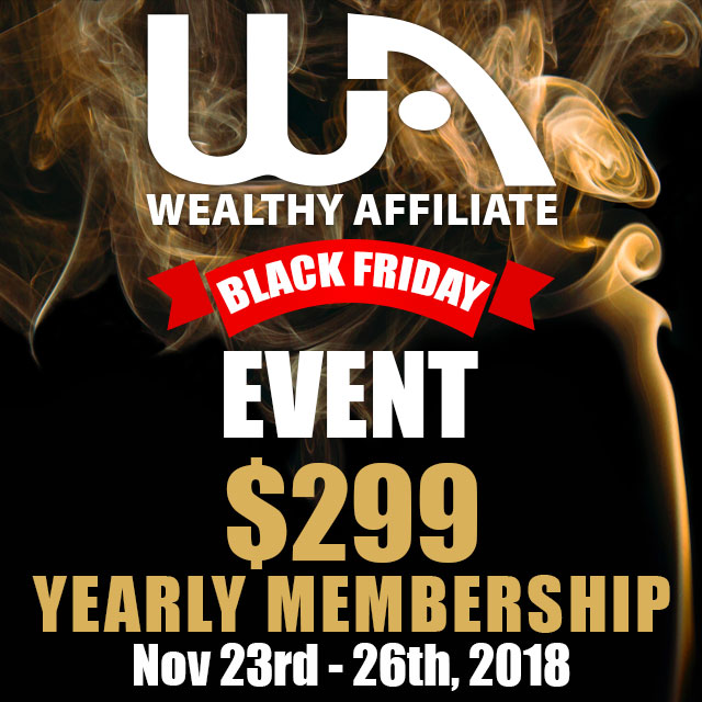 Wealthy Affiliate Black Friday Special 2018 Sign in image