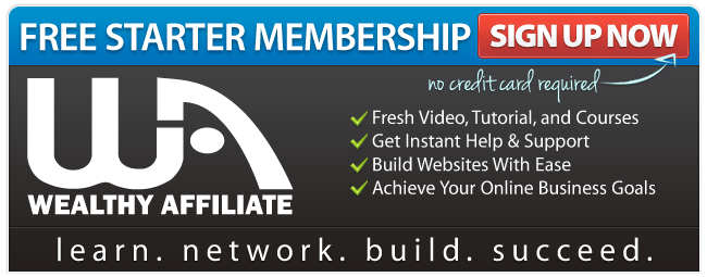 Wealthy Affiliate banner showing the benefits of a free starter membership.